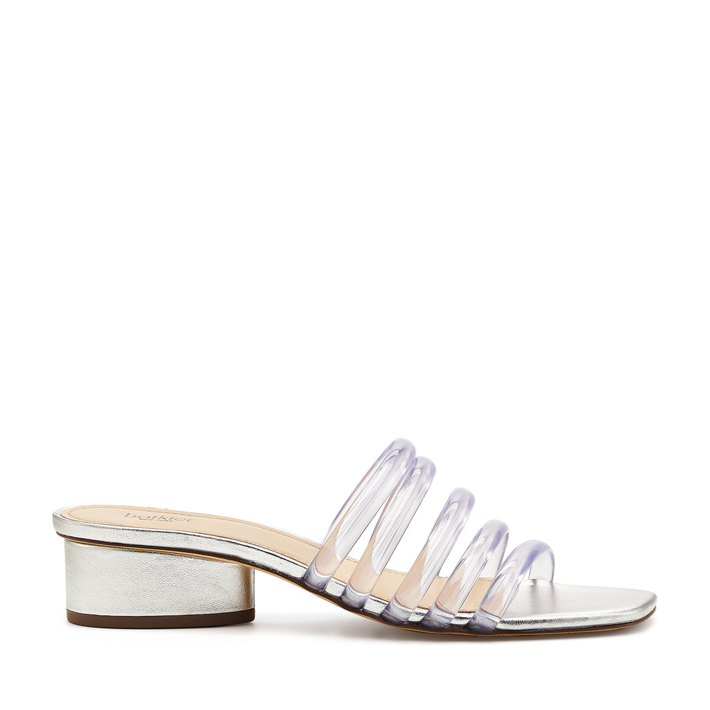 botkier yani slip on sandal in silver with clear jelly multi straps