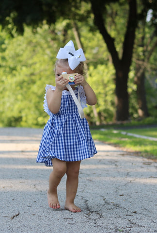 The enchanted wardrobe wooden toddler cameras blue checked gingham summer dress