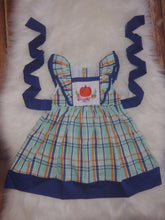 Smocked Mint & Pumpkin Plaid Ruffle Dress by Little Piper Designs - the Enchanted Wardrobe