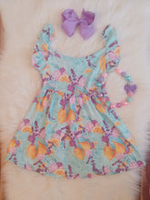 Purple Floral & Lemon Ruffle Dress - the Enchanted Wardrobe