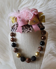 Pink/Gold Stacked Bow Leopard Accessory Set - the Enchanted Wardrobe