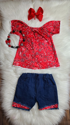Red Bandana Distressed Denim Set