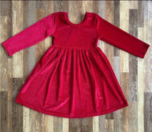 Dark Red Crushed Velvet Dress - the Enchanted Wardrobe