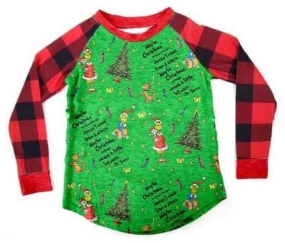 Buffalo Plaid Grinch Unisex Raglan - the Enchanted Wardrobe
