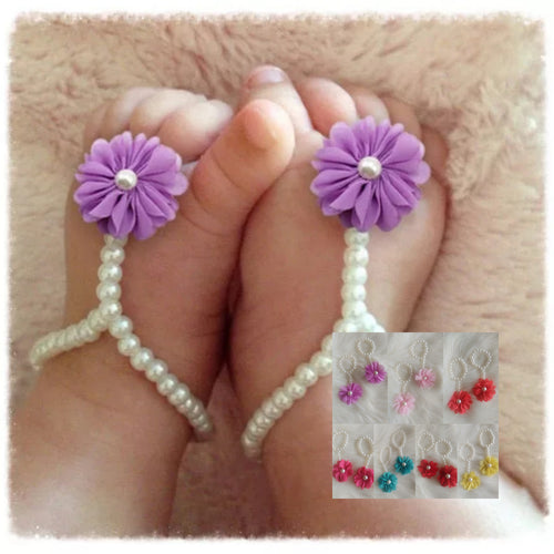 Pearl Floral Foot Bracelets - the Enchanted Wardrobe