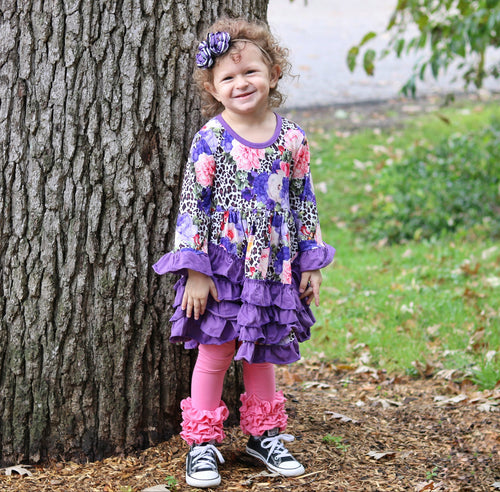 Purple Floral & Leopard Ruffle Dress