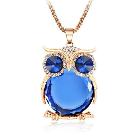 Crystal Owl Pendant Necklace - Pafalo