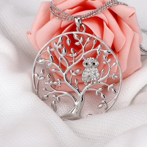 Owl Tree Of Life Crystal Pendant Necklace - Pafalo
