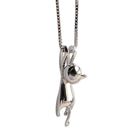 Silver Kitty Cat Pendant Necklace