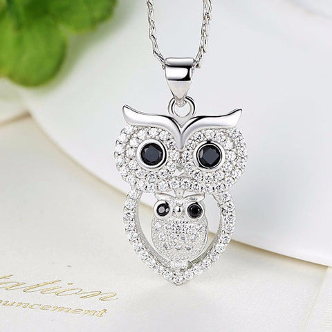 White Gold Plated Owl Pendant Necklace - Pafalo