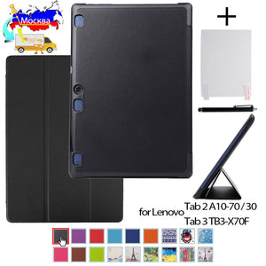 Cover case for Lenovo Tab 2 A10-70 A10-70F A10-70L A10-30 X30F 10.1 inch tablet  PU leather case+film+stylus pen