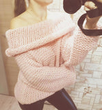 Women Sexy Off Shoulder Casual Pullover Sweater