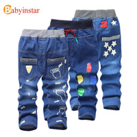 Kids Fashion Autumn /Spring Foot Print Pattern Denim Jeans