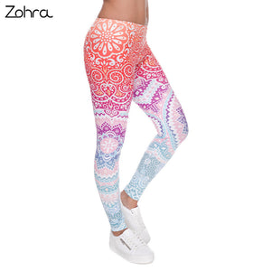 Zohra Aztec Round Ombre Printed leggings Slim High Waist