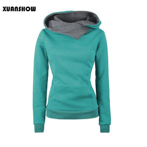 2017 Women Pullover Casual Solid Hoodies Turn-down Collar Sweatshirts
