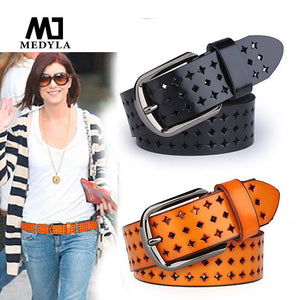 Cutout Strap Female Genuine Leather Cowhide Belt Elastic Hollow Out