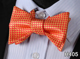 100% Silk Jacquard Woven Mens Classic Butterfly Self Bow Tie