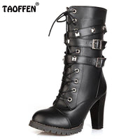 Ladies Women  High heels/ Platform Buckle Zipper Lace up Leather boots