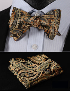 Paisley Floral Houndstooth Silk Jacquard Woven  Butterfly Self Bow Tie & Pocket Square Handkerchief
