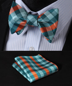 Check 100% Silk Jacquard Woven Men Butterfly Self Bow Tie & Square Handkerchief