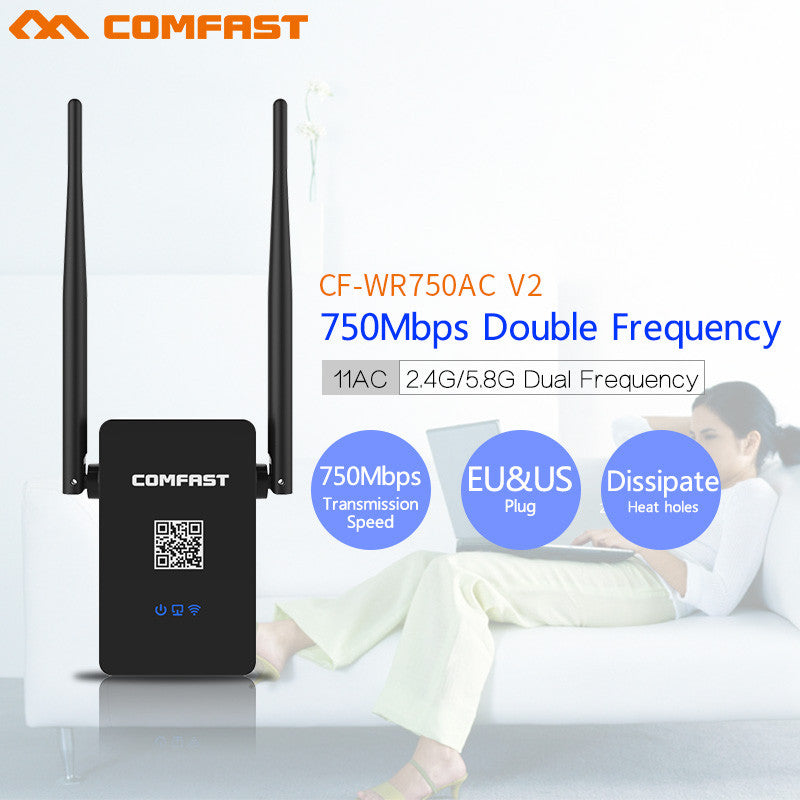 Comfast  CF-WR750AC V2 Dual Band 750Mbps Wifi Repeater Roteador 802.11AC Wireless Router 2.4+5.8GHz