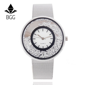 Stainless Mesh Strap Crystal Dial  BGG Brand Ladies Gold Silver Dress Quartz-Watch