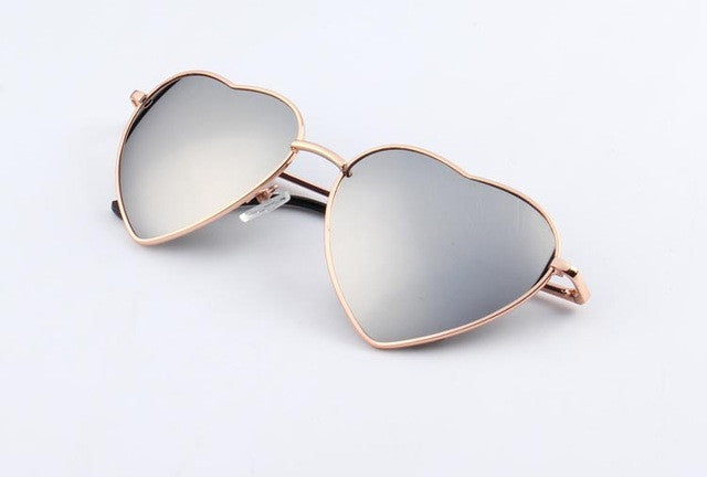 KEHU Heart Shaped Women Metal Reflectiven Sunglasses