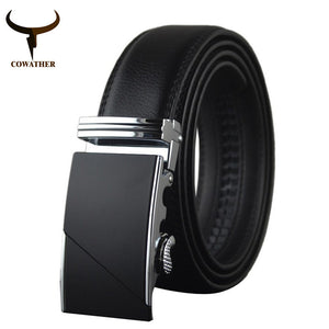 COWATHER High Quality Male genuine leather belt automatic buckle strap