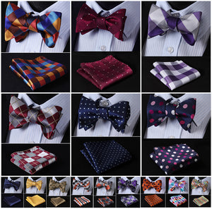 Check Polka Dot Silk Jacquard Woven Men Butterfly Self Bow Tie & Square Handkerchief