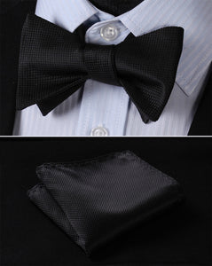 Classic 100% Silk Woven Men Butterfly Self Bow Tie & Pocket Square Handkerchief