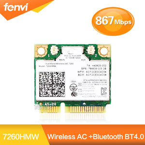 Mini PCI-e bluetooth Wireless wifi card Dual Band 7260 7260HMW Wireless AC +Bluetooth 4.0 Wireless-AC WiFi BT 4.0