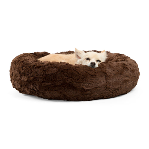 Lux Fur Donut Cuddler Dark Chocolate 23