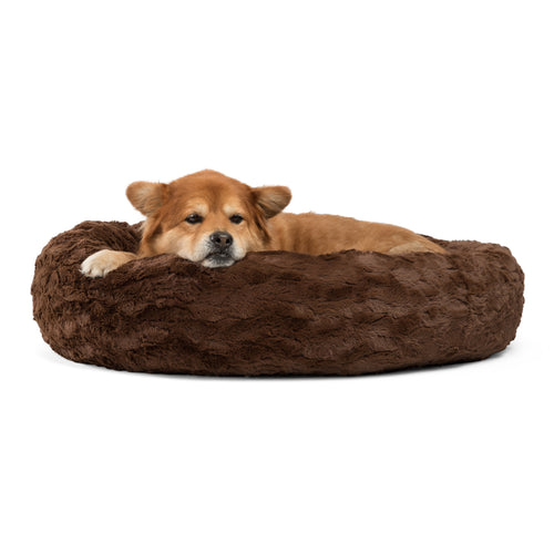 Lux Fur Donut Cuddler Dark Chocolate 30