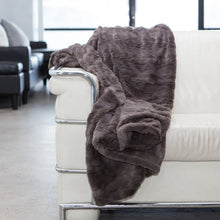 Lux Fur  Throw Blanket Mink