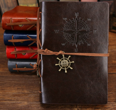 Leather Vintage Travel Journal Notebook With Retro Pendants