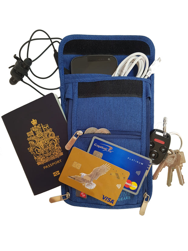 Jaunt Gears Passport Wallet Neck Pouch With RFID Blocking