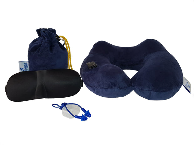 Jaunt Gears Hand Inflatable Revo Travel Neck Pillow + 3D Sleep Mask + Durable Earplugs