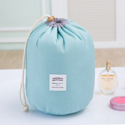 Barrel Shaped Drawstring Travel Cosmetic Bag With Mini Pouch
