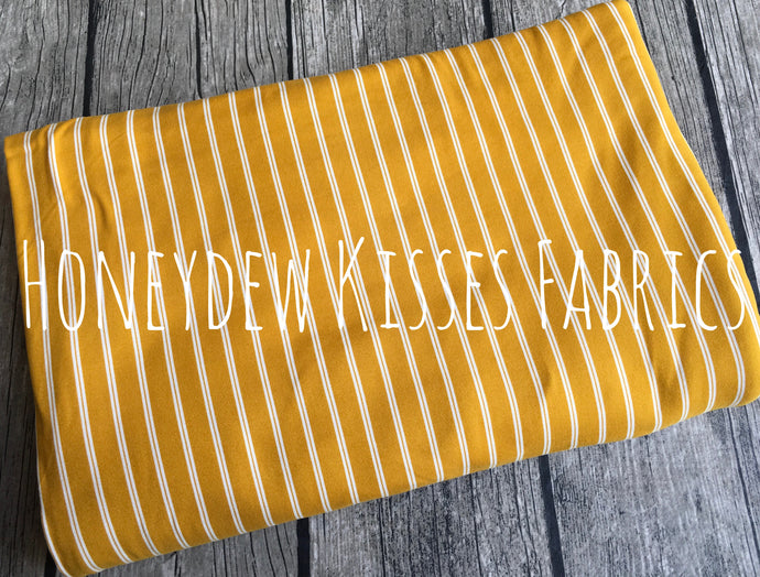 Mustard Striped Brushed Poly Spandex Knit Fabric