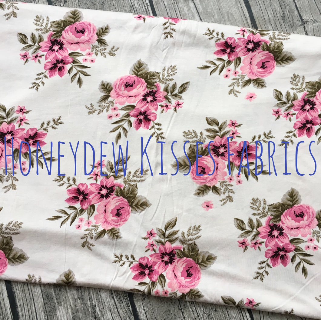 Cream Floral Knit Fabric