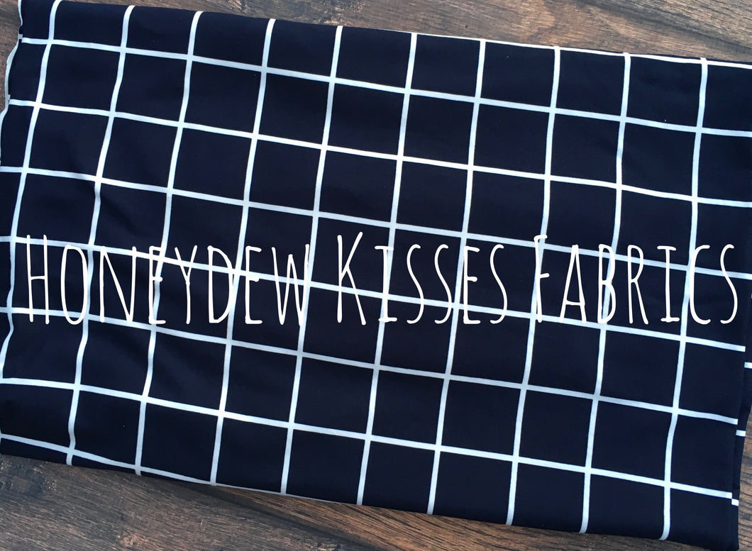 Navy Window Pane Brushed Poly Spandex Knit Fabric