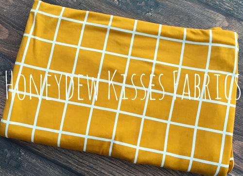 Mustard Window Pane Brushed Poly Spandex Knit Fabric