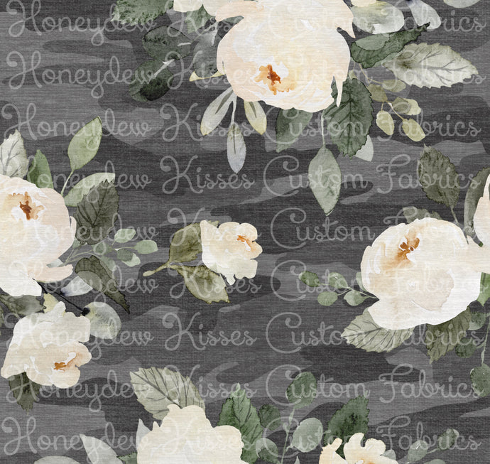 PREORDER Distressed Camo - Grey Floral