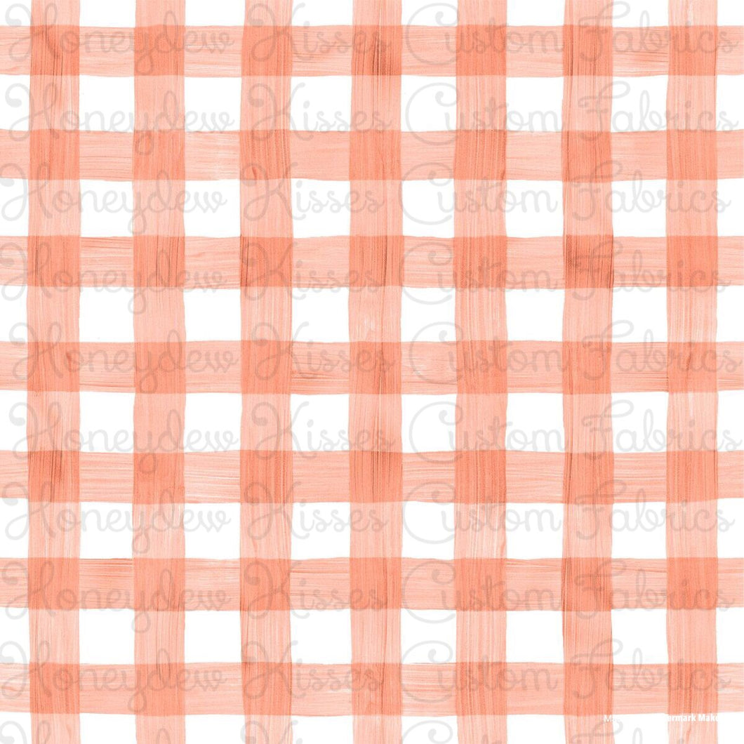 Watercolor Gingham - Coral