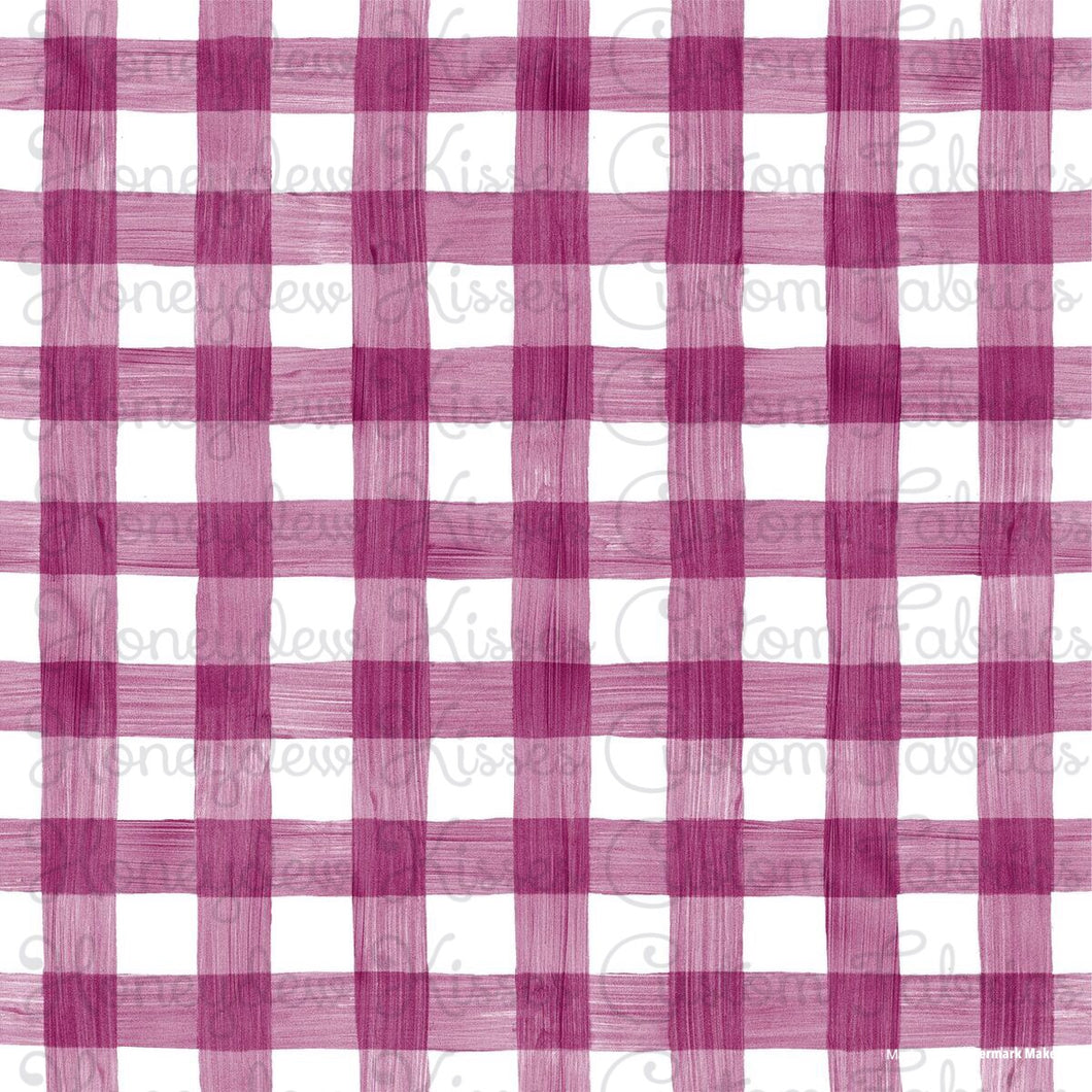Preorder Watercolor Gingham - Burgundy