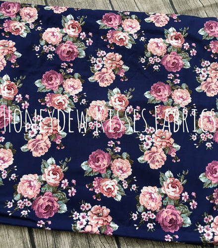 Navy Rose Floral Brushed Poly Fabric