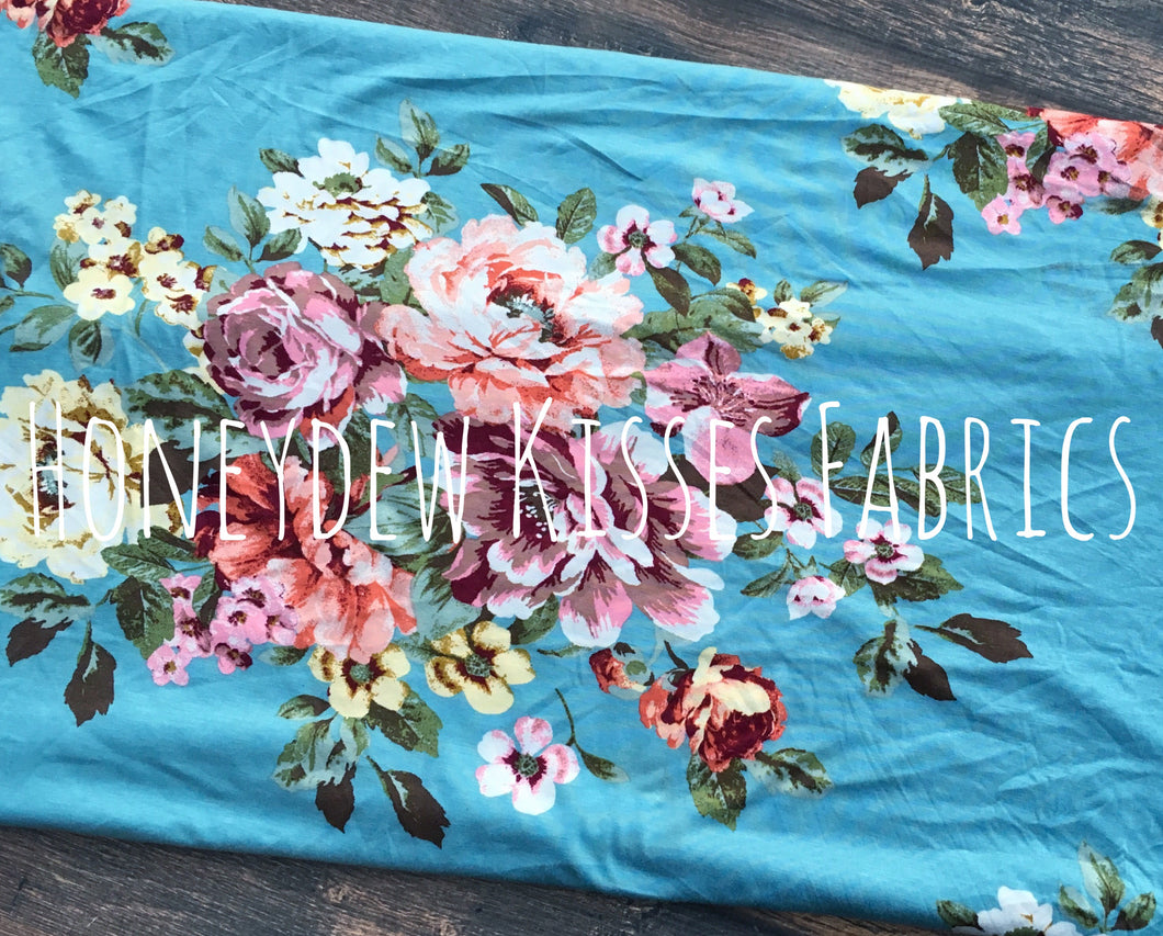 Dusty Blue Floral Knit Fabric