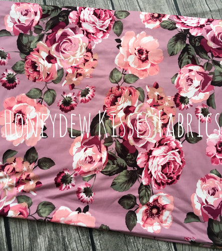 Dusty Rose Floral Brushed Poly Fabric
