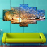HD PRINTED ADORABLE OCEAN WAVES 5 PIECE CANVAS - Surf Sun Sea