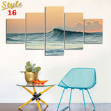 HD PRINTED OCEAN WAVES 5 PIECE CANVAS - Surf Sun Sea